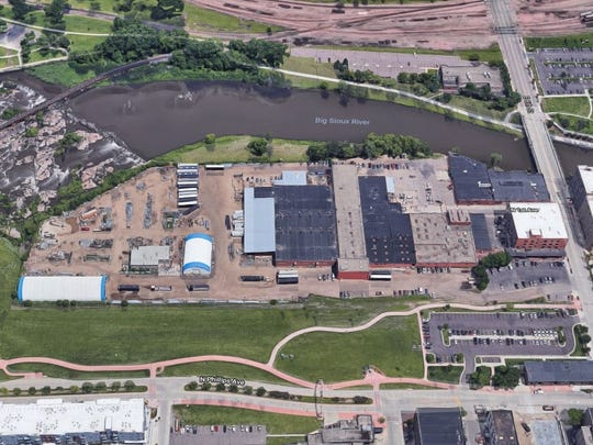 An aerial view of the Sioux Steel property in downtown