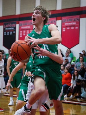 Wall's Brandon Dusek scored 12 points to help lead Wall to a 10-0 record in District 4-3A along with the district championship. Wall beat Sonora 55-29 in the district finale for both teams, Tuesday, Feb. 13, 2018, in Wall.