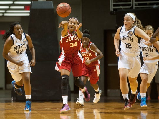 Tykeria Williams (34) passes up court during the AHSAA