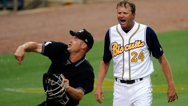 Biscuits Manager Billy Gardner yells at the umpires after a close call at third during their game at Riverwalk Stadium on Monday, June 14, 2010. (Montgomery Advertiser, Amanda Sowards)
