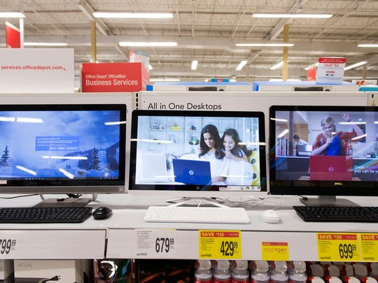 Laptops on display at Office Max. Computers up to $1500 are exempt from sales tax for the Sales Tax Holiday. Computer accessories are not exempt unless they are packaged with the computer.