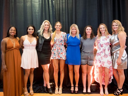 University of Tennessee tennis athletes, from left, Elizabeth Profit, Johanna Silva, Ariadna Riley, Kaitlin Staines, Gabby Schuck, Sadie Hammond, Chelsea Sawyer. and Tenika McGiffin at the Volscars on Monday, April 16, 2018.