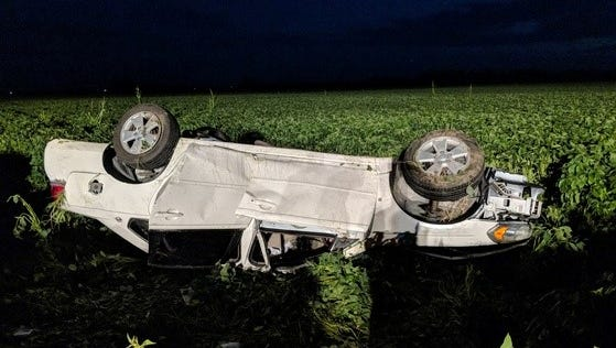 Two people were ejected from this car Monday night in a crash on Interstate 65. They were airlifted to an Illinois hospital.