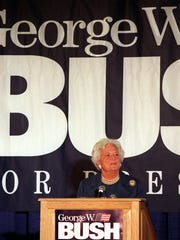 Barbara Bush speaks to George W. Bush for President supporters during a 1999 fundraiser at the Des Moines Marriott Downtown.