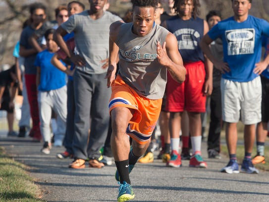 Andrew Radzik sprints during William Penn's track and