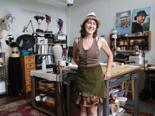 """Hatmaker Sarah Havens has been renting a studio space for five years at the Hope Worsted Mills Co. building located at 942 East Kentucky Street. """"Old buildings have quirks that I like. There's something about the history of it,"""" Havens said. """"It's nice to be in a space that has an importance to the city's history."""" June 27, 2016"""