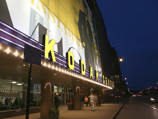 The Kodak Center Theater lit a new sign on September