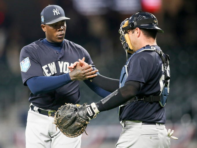 March 26: Yankees relief pitcher Aroldis Chapman celebrates