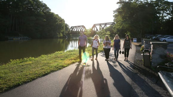 The Erie Canalway Trail, shown here in Pittsford, would