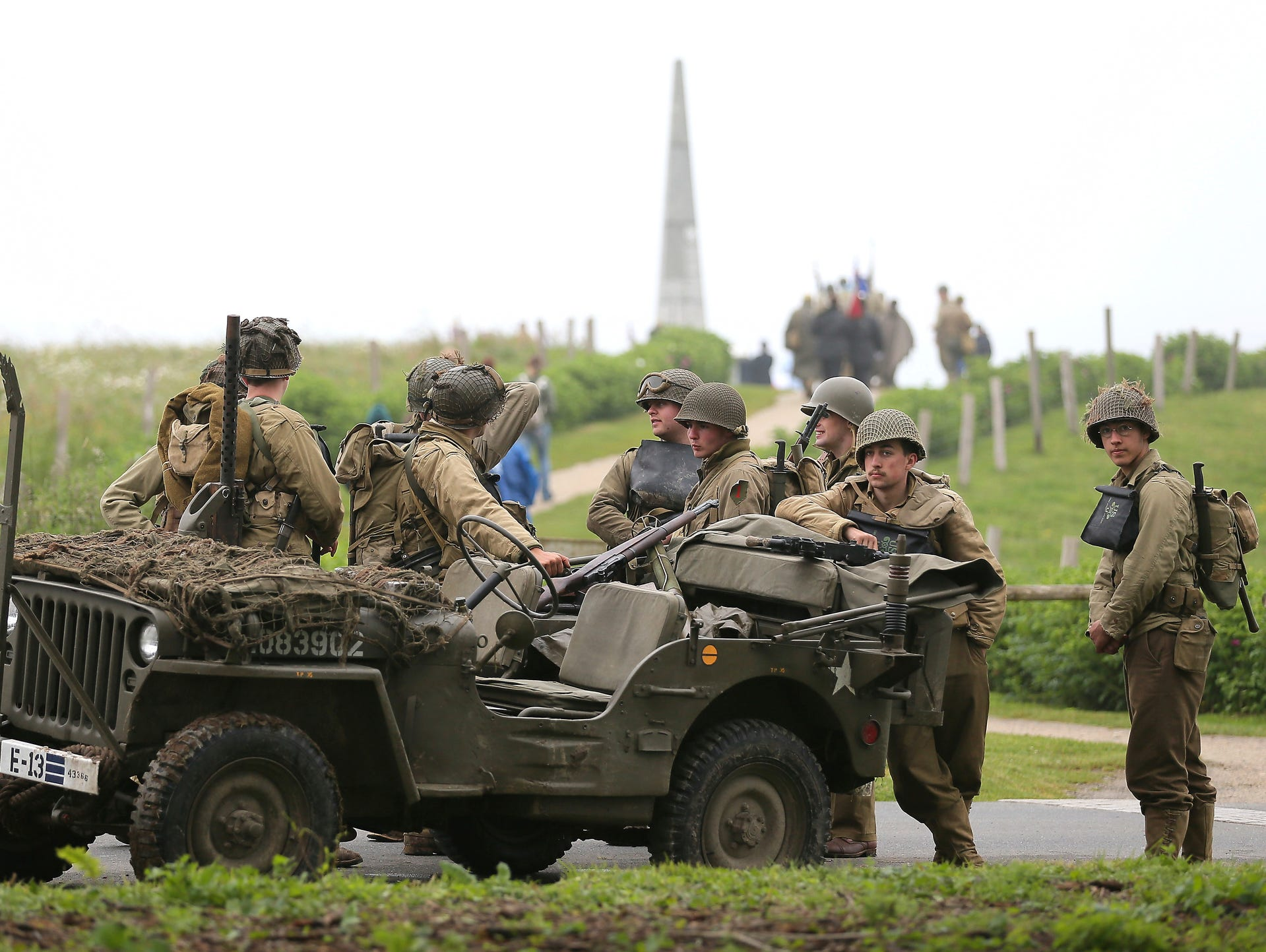WWII enthusiasts from France wearing 101st Airborne