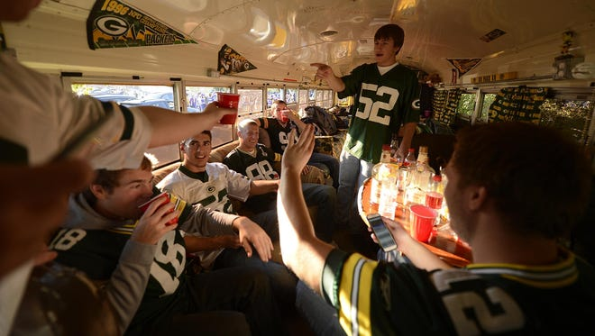 Some party buses that travel to football games are elaborate, like this bus that's privately owned by a Green Bay Packers fan from Sheboygan. Others are leased school buses that anyone can ride for a fee.