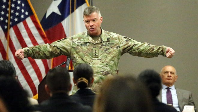 Gen. David G. Perkins, commander of the U.S Army Training and Doctrine Command, talks about what the command does during a breakfast co-hosted by the Greater El Paso Chamber of Commerce and the local chapter of the Association of the U.S. Army on Wednesday at the chamber's offices in Downtown El Paso.