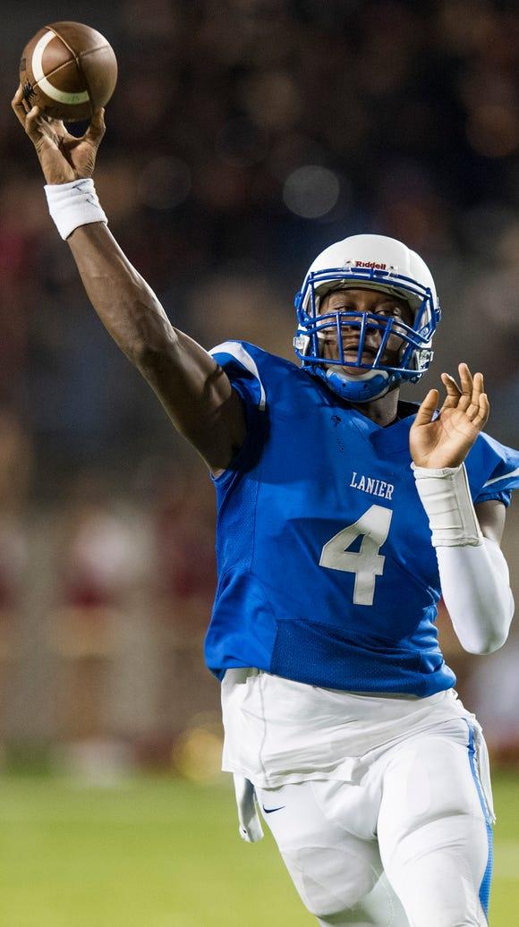 Lanier quarterback James Foster throws a touchdown