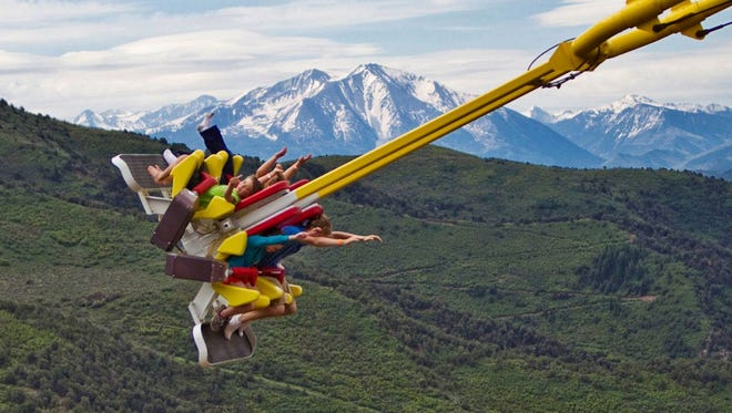 The Giant Canyon Swing at Glenwood Caverns Adventure Park in Glenwood Springs, Colo. moves four passengers back and forth, takes them nearly vertical at the height of each swinging arc, hits a top speed of 50 mph, and delivers potent, tummy-tickling, negative G-forces, all perched at the edge of a cliff on top of a mountain.
