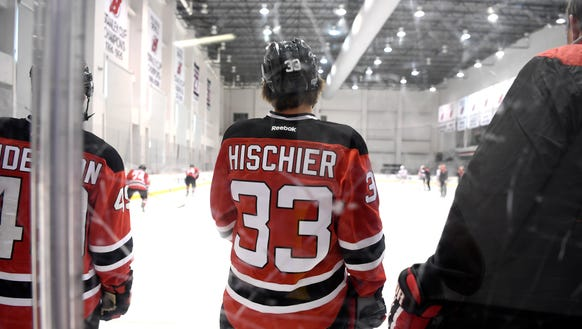 Nico Hischier practices with the New Jersey Devils