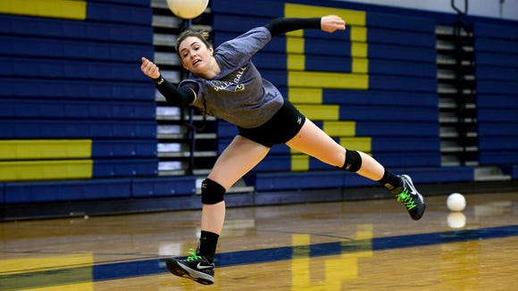 Roberson's Emma Binns, shown during a 2016 match, had 5 aces and 9 kills Thursday.