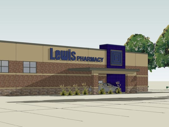 An architectural rendering of the new Lewis Drug Southgate