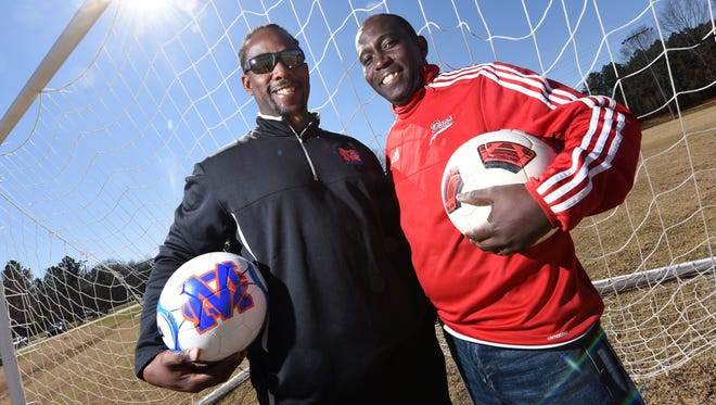 Madison Central soccer coach Cecil Hinds, left, and Brandon girls soccer coach Jeremy Shortt, both from Trinidad, coaching the only two undefeated girls teams remaining in the state in the Class 6A championship on Saturday. Hinds is also coaching the Jaguars, looking for a fourth-straight boys 6A title. The two have been best friends for nearly 30 years, played at Belhaven together, coached together and now look for bragging rights.