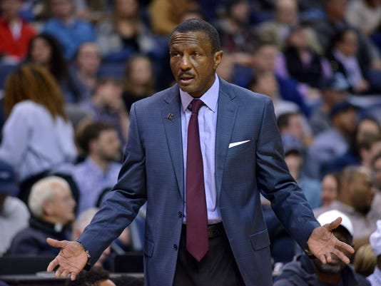 Toronto Raptors head coach Dwane Casey reacts in the first half of an NBA basketball game against the Memphis Grizzlies Friday, Dec. 8, 2017, in Memphis, Tenn. (AP Photo/Brandon Dill)