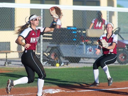 Aggie senior third baseman Emma Adams heads toward