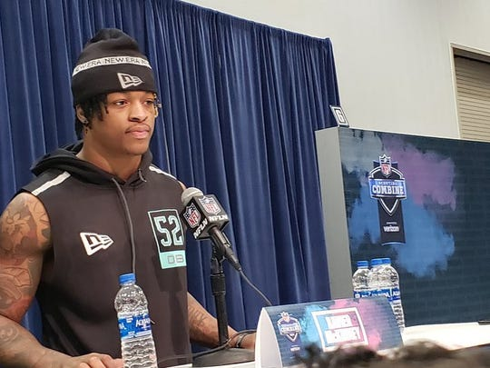 INDIANAPOLIS -- Alabama defensive back Xavier McKinney speaks during his media session at the 2020 scouting combine. (Doug Farrar/USA Today Sports Media Group)