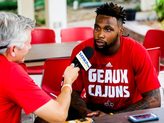 UL wide receiver Jamal Robinson speaks to members of the media during football media day at the UL Alumni Center in Lafayette, Wednesday, Aug. 5, 2015.