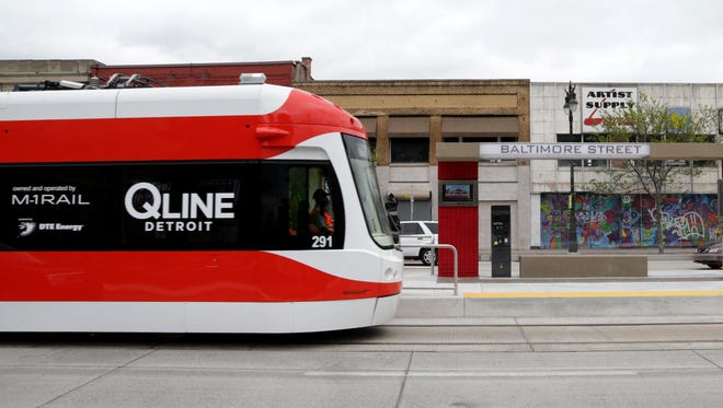 The QLINE approaches the Baltimore Street station on South Woodward in Detroit.