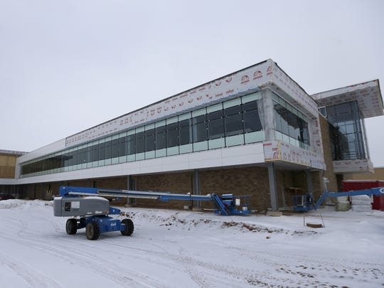 Contruction continues on Menasha Corp.'s new headquarters in Neenah.