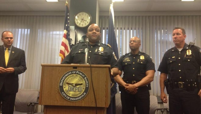 """""""Days like this make us wonder how we've lost our way,"""" said IMPD Chief Rick Hite during a press conference Wednesday, Sept. 10, 2014, about the arrest of two officers charged with beating a man at a bar on the city's Southeastside."""