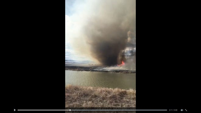 "A bystander filmed a recent ""fire tornado"" in Alberta, Canada."