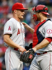 Los Angeles Angels catcher Chris Iannetta (17) and