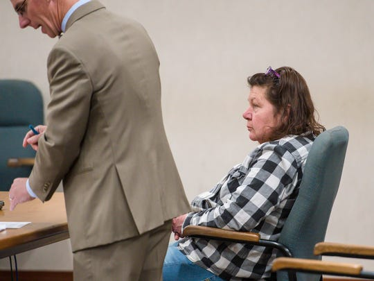 Carmen Guttilla appears in Vermont Superior Court in Burlington on Monday, May 7, 2018.  Guttilla was charged with first-degree murder for what prosecutors say was her involvement in the November 2017 death of Troy Ford. Guttilla was ordered held without bail.