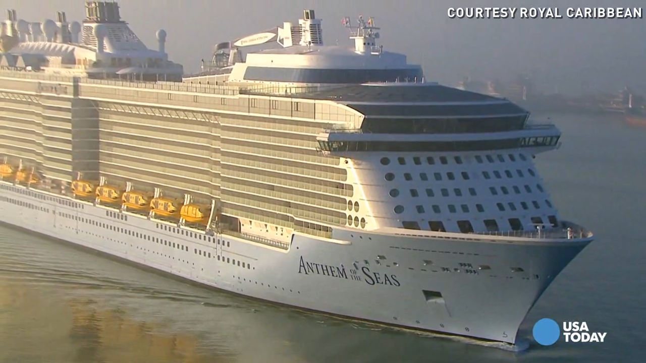 Exclusive video shows huge waves pounding the Anthem of the Seas, the third-largest cruise ship every built. The ship was damaged after experiencing hurricane-like winds in a storm.