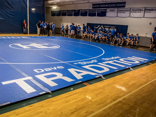 A mat with his name was made for Harper Creek's head