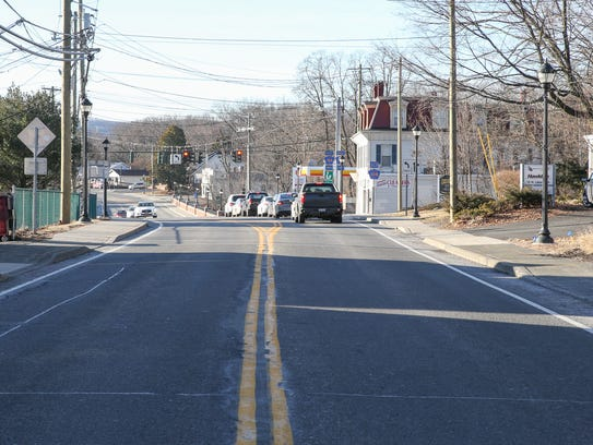 Route 9W near Main St. in Stony Point photographed