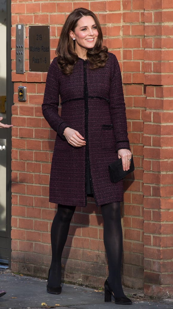 Duchess Kate parties in plum at the Rugby Portobello
