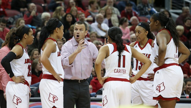 U of L head coach Jeff Walz instructs his team against Duke during their game at the KFC Yum! Center.