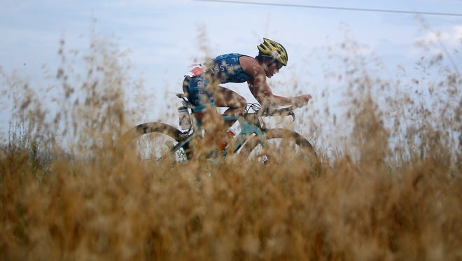 Particpants compete in the cycle leg during the Ironman 70.3 Pescara on June 12 in Pescara, Italy.