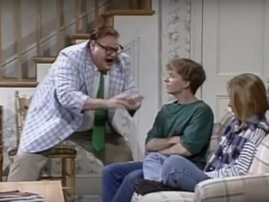 "Chris Farley plays Matt Foley on ""Saturday Night Live."""