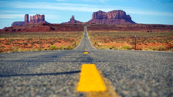 A view of Monument Valley from the road.