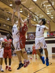 Ray's  Carson Lain fights for a rebound against Flour