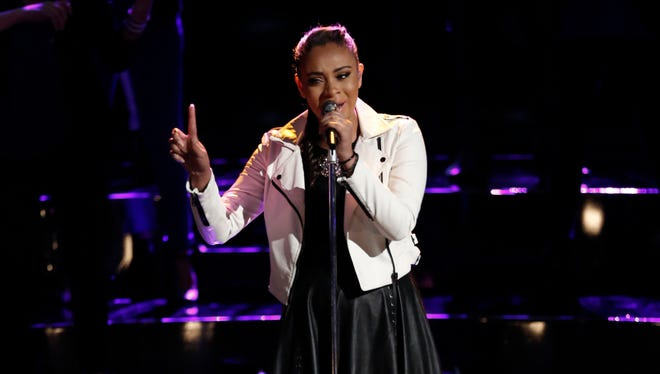 """THE VOICE -- """"Live Top 6"""" Episode 816A -- Pictured: Koryn Hawthorne -- (Photo by: Tyler Golden/NBC)"""