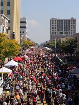 The crowd stretches to Lawrence University as Octoberfest 2015 takes place along College Avenue in Appleton, Wis., Saturday, September 26, 2015.Ron Page/Post-Crescent Media