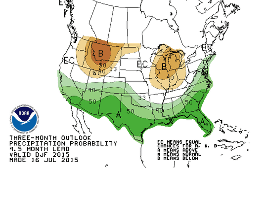 The winter precipitation forecast from the Climate
