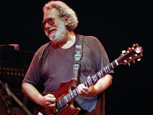 Grateful Dead lead singer Jerry Garcia performs at the Oakland , Calif., Coliseum in this Nov. 1, 1992, file photo.