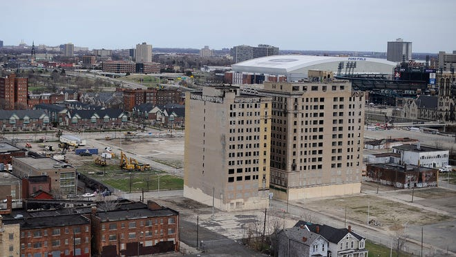 A view of the proposed location of the new Detroit Red Wings hockey arena shows the Eddystone on the left and the old Park Avenue Hotel on the right. The Park Avenue would be razed under the arena plan.