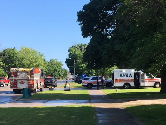 Firefighters, police and paramedics respond to a reported