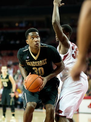 Vanderbilt's Damian Jones looks to shoot against Arkansas' Moses Kingsley on Jan. 5. Vanderbilt lost 90-85 in overtime.
