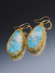 """Earrings by Amy Rivka, who has new jewelry featured in """"Chroma,"""" the summer art gala at Plum Bottom Pottery and Gallery."""