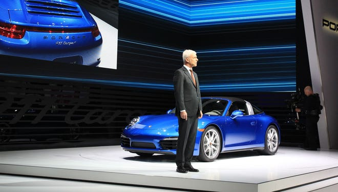 Matthias Mueller, CEO of Porsche, introduces the new Porsche 911 Targa at the North American International Auto Show in Detroit in January 2014.